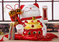 Crafts Arts Home Decoration Lucky Cat Ornaments Ceramic Electric Hand Large Cat Shops Opened Home Wedding