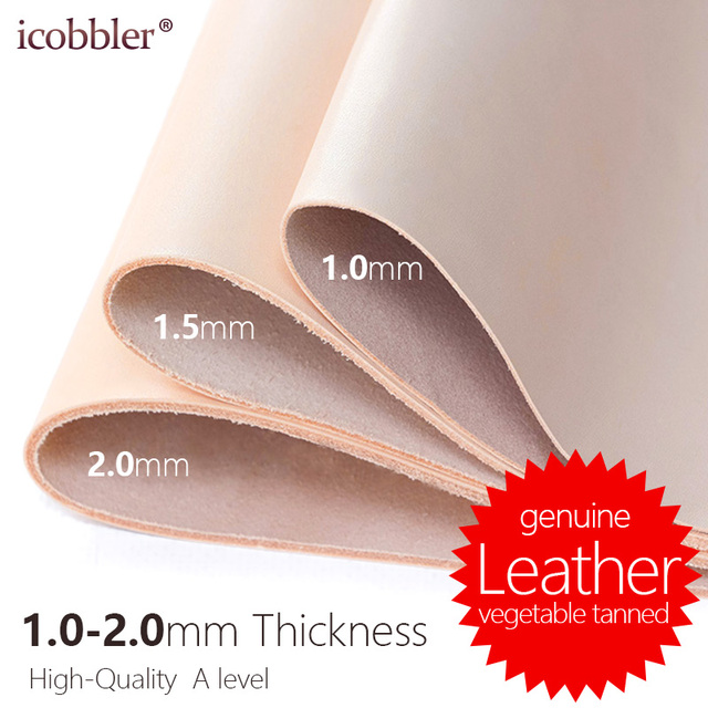 1.0-2.0mm Thickness, Genuine Natural Cowhide Real Cow Leather for Belt Making Wallets Purses Shoes Bag and Sofa Leather Material