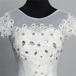 Image 5 - Custom Made Wedding Dress 2020 New Arrival Crystal Appliques Embroidery Lace O Neck Short Sleeve Princess Gown Vestidos De Novia