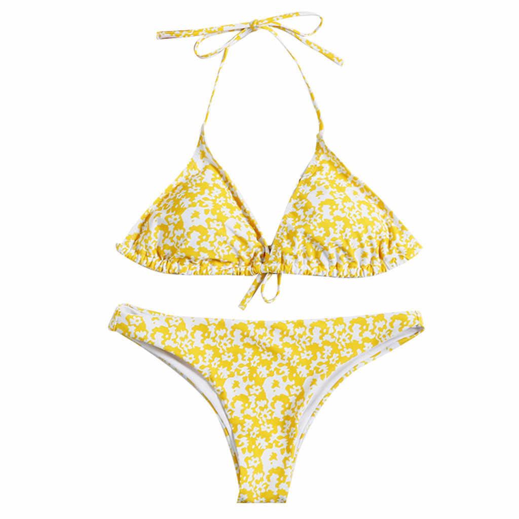 Perimedes strój kąpielowy kobiety Sexy Backless Halter Bikini Push Up 2019 strój kąpielowy dziewczyny hot G String stroje kąpielowe strój kąpielowy Bikini 2019 Mujer
