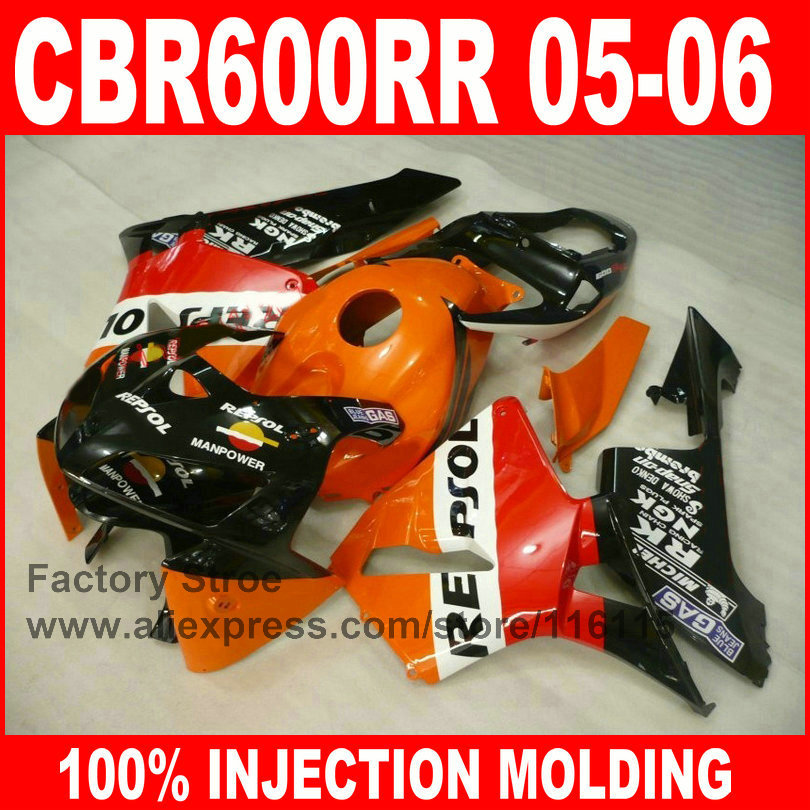 Custom 100% Injection motorcycle parts for HONDA F5 2005 2006 CBR 600RR 05 06 CBR600RR fairings orange repsol fairing body kits arashi motorcycle parts radiator grille protective cover grill guard protector for 2003 2004 2005 2006 honda cbr600rr cbr 600 rr