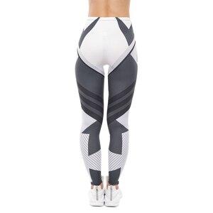 Image 2 - High Quality Women Legging Dark Gray Stripes Printing Fitness Leggings Fashion High Waist Woman Pants