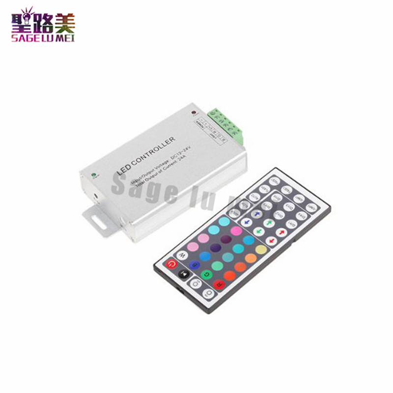 Free shipping DC12-24V 24A 288W 44key IR Remote Led RGB Controller Dimmer for led strip led light module tape