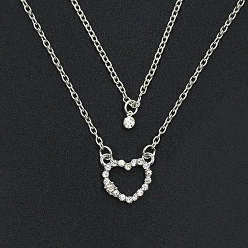 1 pcs New Women Girls Crystal Rhinestone Love Heart Pendant Chain Necklace Jewelry bijoux femme