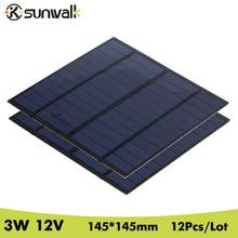 SUNWALK 12Pcs/Lot 12V 3W PET Polycrystalline Silicon Small Solar Panel DIY Solar Panel Cell for DIY Solar Module 145*145mm