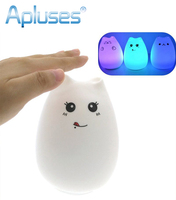 Desk Night Lights Baby Room Colorful Cat Silicone LED Night Light Rechargeable Touch Sensor Light 2