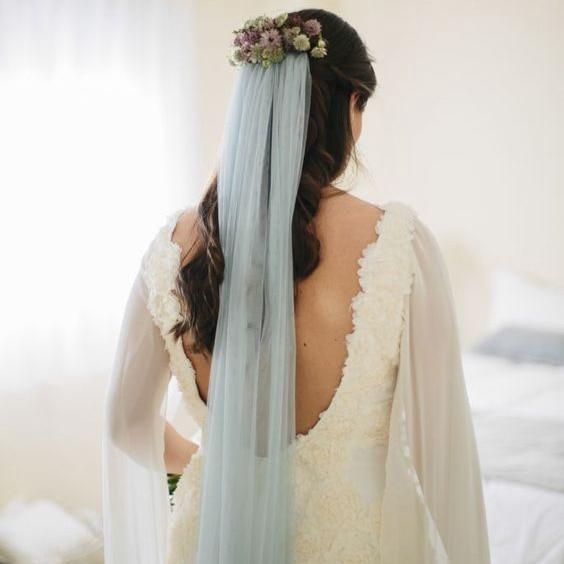 Dust Blue #36 Color Wedding Veil Ankle Length