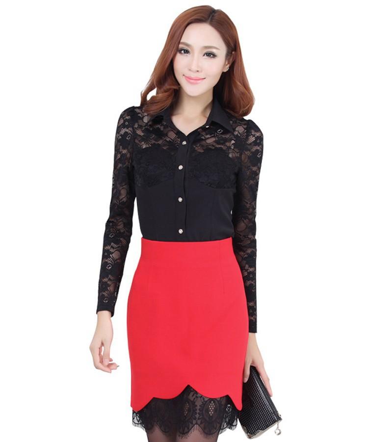Women pencil skirt female lace skirt black high waisted skirts ... 4ba73bb1c140