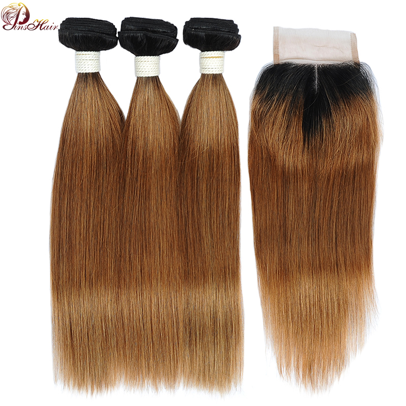Pinshair Ombre Blonde Brazilian Straight Hair Bundles With Closure T1B/30 100% Human Hair 3 Bundles With Middle Closure Non-Remy