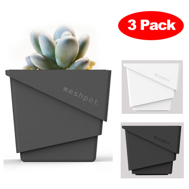 Meshpot 3-Pack Succulents Pot Plastic Flower Pot Planter Container Garden Pot,Root Controlling Patent Technology Inner Dia. 7cm