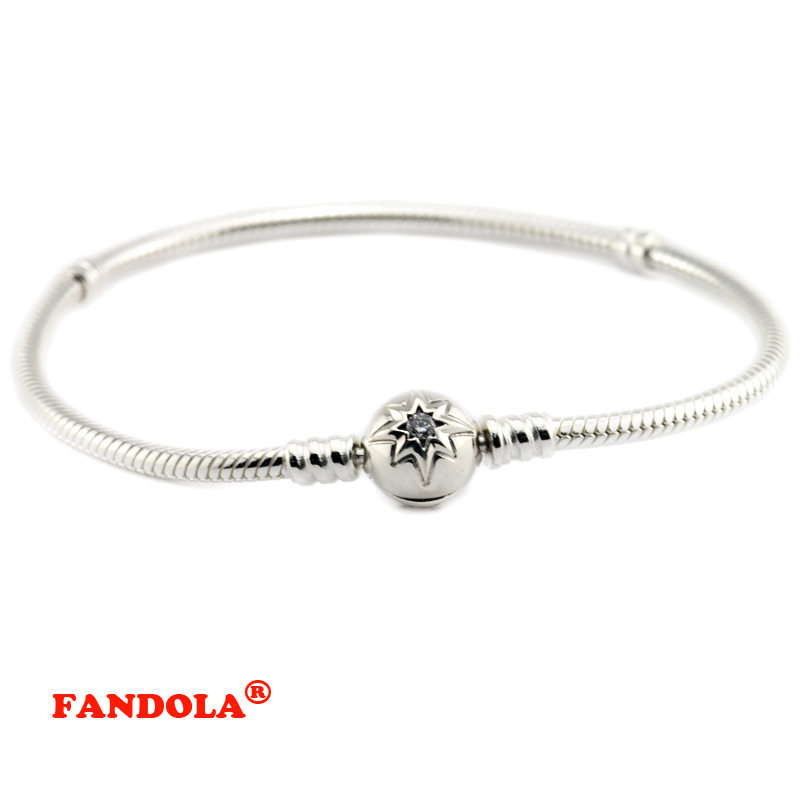 Starry Sky Clasp Bracelets with Clear Cubic Zirconia 100% 925 Sterling Silver Jewlery for Women Free Shipping