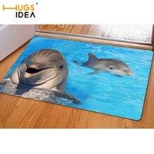 HUGSIDEA Morden Area Rugs for Living Room Bedroom Kitchen Carpet Mat Funny 3D Dolphin Print Flannel Doormat Soft Non-slip Carpet