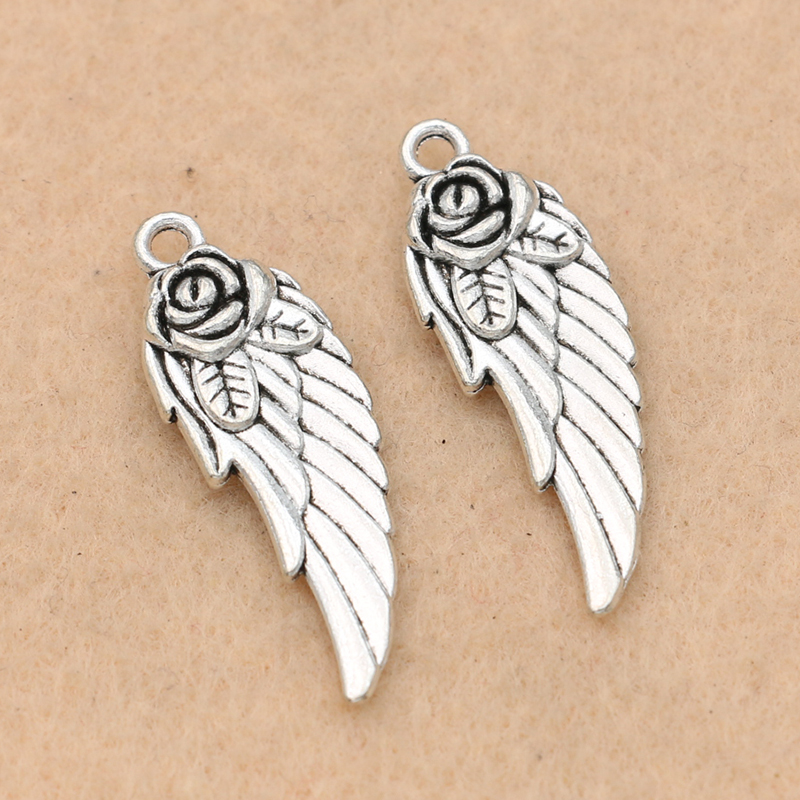 10 Stücke Antike Silber Überzogen Angel Wings Charms Anhänger Für Schmuck Machen Armband Zubehör Diy Schmuck Erkenntnisse 31x11mm Direktverkaufspreis