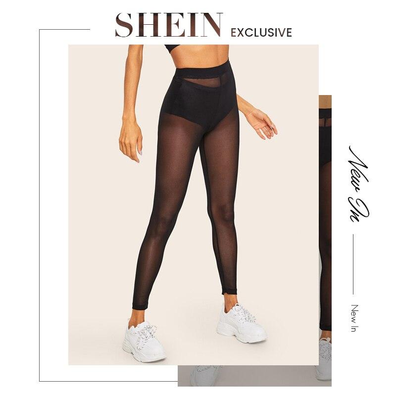 SHEIN Lady Sheer Mesh Sexy Leggings Without Panty Spring Summer Soild Mid Waist Women Leggings Going Out Black Leggings 21
