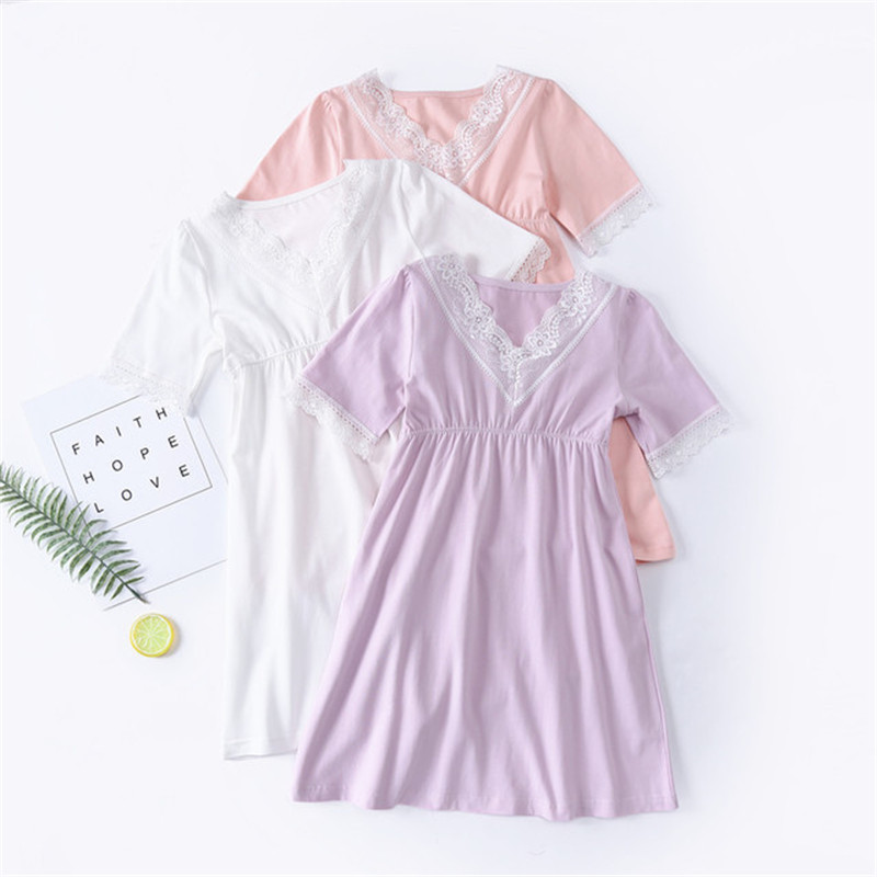 LAKAKSTY Cotton Kids Nightgowns Princess Lace Nightie 2019 New Summer Children Clothes Pajamas For Girls Sleepwear Nighdresses