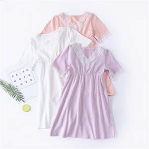 CHUNG Toddler Little Girls Cotton Nightgown Vintage Princess Sleep Dress with Embroidery Lace Pajamas Summer