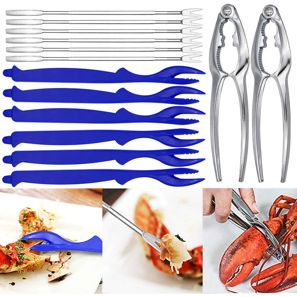 14Pcs Kitchen Nut Crab Lobster Cracker Spoon Fork Pick Needle Seafood Tool Set hot(China)
