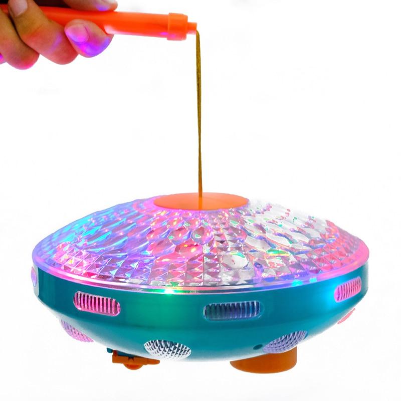 2019 nuevo resplandor eléctrico juguetes luminosos niños música niños Halloween juguete Universal Flying Saucer Disco suena lámpara linterna - 6