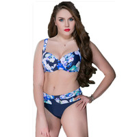 2017 Women Print Plus Size Bikini Set Brazilian Push Up Sexy Swimwear High Waist Newest Swimsuit
