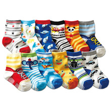 Free shipping ( 12 pairs/lot ) 100% cotton Baby boys girls socks rubber slip-resistant floor socks cartoon kids socks 1-3 years