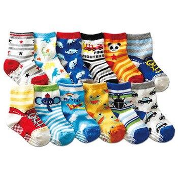Free shipping ( 12 pairs/lot ) 100% cotton Baby boys girls socks rubber slip-resistant floor cartoon kids 1-3 years