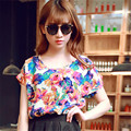 Moda 2016 Mulheres Verão Encabeça T-Shirt 19 Padrões de Impressão Solto estilo O Pescoço Batwing Manga Curta Chiffon Casual Camisa T mulheres