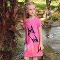 2016 Summer Long Cat Character Impressão Estilo Da Criança Do Bebê Meninas Camisetas Casuais Adolescente camisas Curto t Roupas Crianças