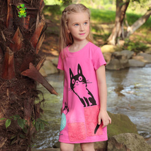 Girls T shirts 2017 Summer Long Character Cat Print Toddler Baby Casual Style Teenage Short t shirts Children Clothing