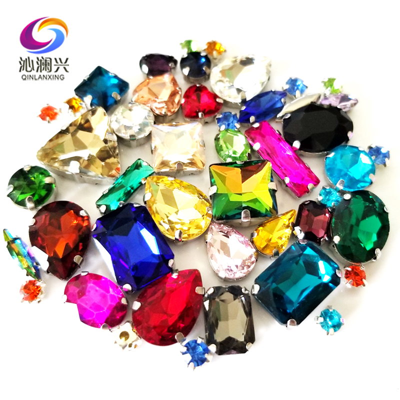 bbe1292333 Mix 25 different colors Super beauty top quality glass crystal flatback sew  on claw ...