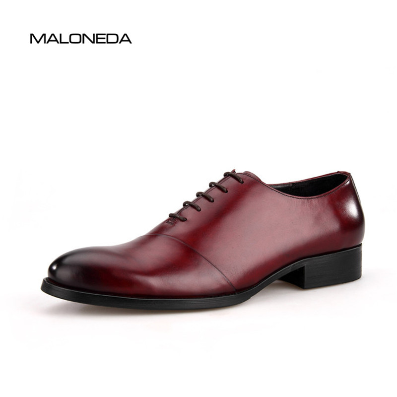 MALONEDA Fashion Handmade Calf Leather Men Dress Oxfords Shoes Lace Up Designer Luxury Men Shoes Red Wine ColorMALONEDA Fashion Handmade Calf Leather Men Dress Oxfords Shoes Lace Up Designer Luxury Men Shoes Red Wine Color