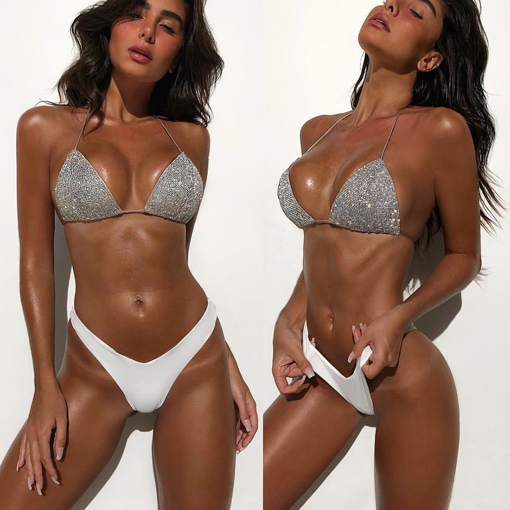 0704417592e Sexy Shiny Bikini Set Bling Swimsuit White Bikinis Women Bandeau Swimwear  2018 Beach wear Push Up