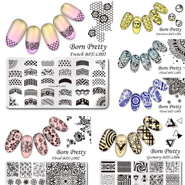 6 Unids/set NACIDO PRETTY 12*6 cm Rectángulo Sello de Uñas de Manicura Del Arte Del Clavo Que Estampa la Plantilla Placa de la Imagen BPX L001-006