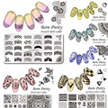 6Pcs/set BORN PRETTY 12*6cm Rectangle Nail Art Stamping Template Manicure Nail Stamp Image Plate BPX L001-006