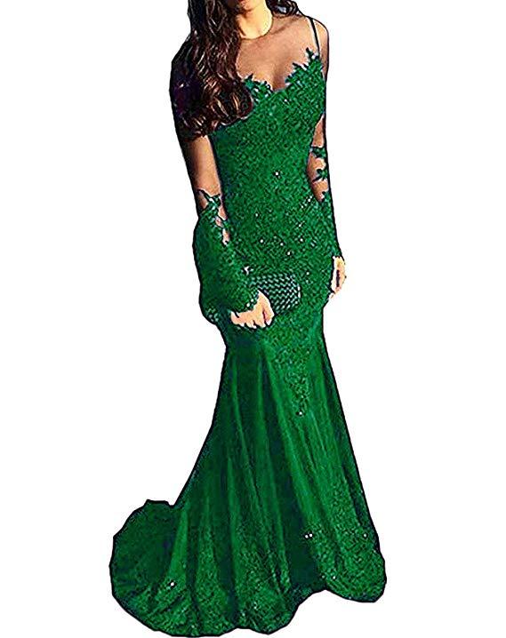 Abiti Da Sera Unique.Long Sleeves Beaded Satin Mermaid Prom Dress Lace Evening Formal