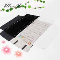 Pro Black Gray Velvet Earring Storage Roll Bag 60 Pairs Jewelry Display Pouch Carrying Case Travel