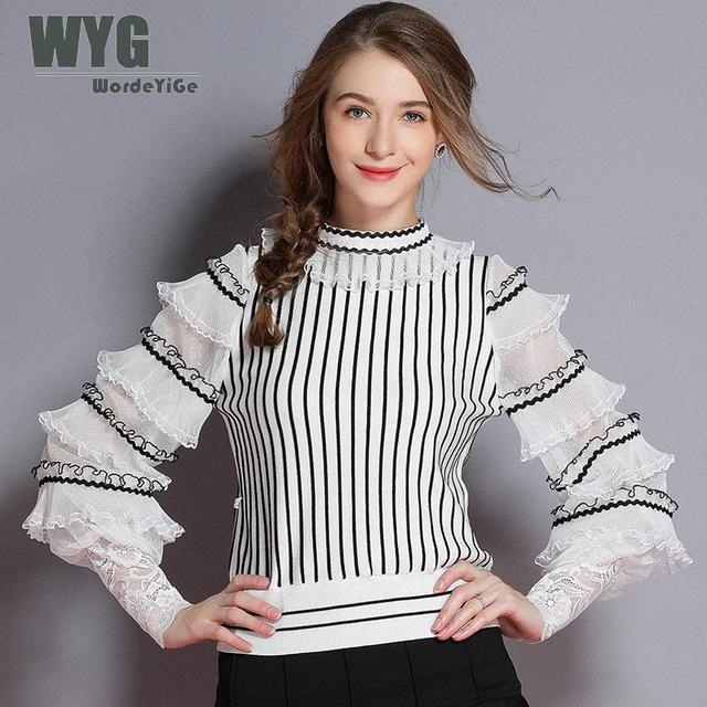 118e4372a80 US $87.54 |Aliexpress.com : Buy Korea Fashion Ruffles Sweaters 2018 Autumn  Winter New Arrival Striped Frilled Sheer Long Lantern Sleeve White Black ...