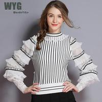 Korea Fashion Ruffles Sweaters 2018 Autumn Winter New Arrival Striped Frilled Sheer Long Lantern Sleeve White Black Knit Wear