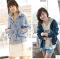 Boyfriend Style 2017 Autumn Spring Women Loose Fit Denim Jacket Real Two Pieces Fashion Batwing Sleeve Jeans Coat