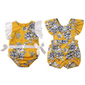 295ecea4d07e Newborn Baby Girls Lace Flower Sleeves Romper Yellow Jumpsuit Outfits  Sunsuit Summer Cute Clothing