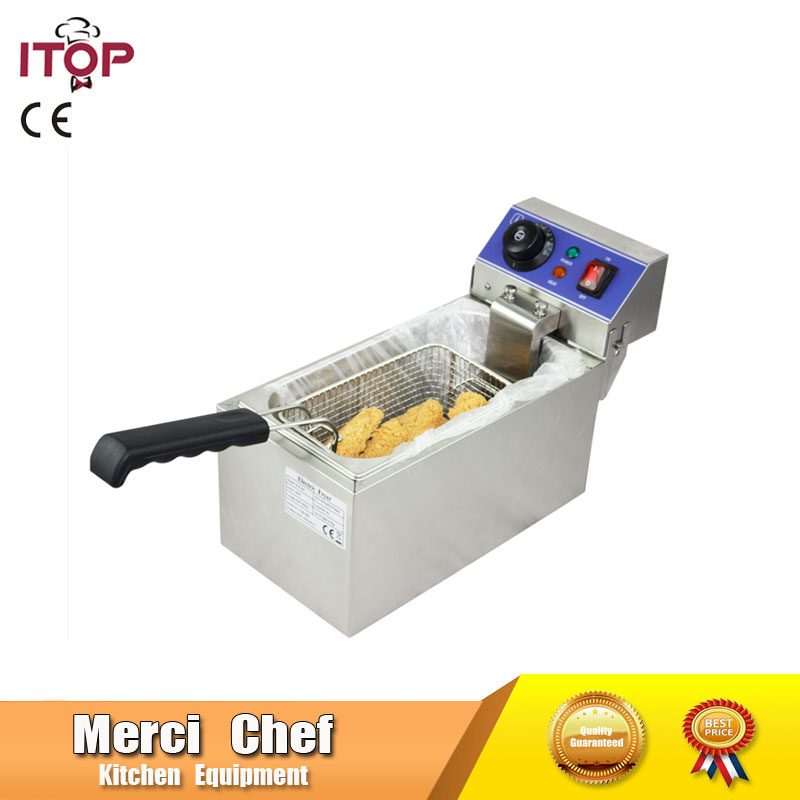 Household and Commercial 6L Electric DEEP FRYER Frying Machine household and commerical suit Food Machine CE Stainless Steel lcd deep air fryer household intelligent no fumes 2 8l high capacity black third generations upgrade electric fryer
