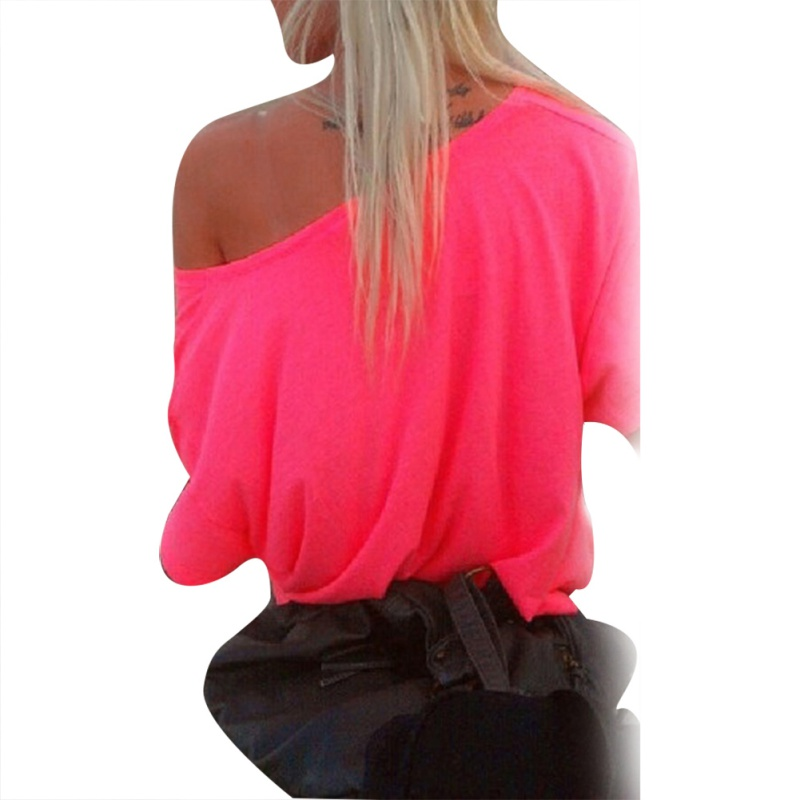 Sexy Women Off-Shoulder Tops Bloues Solid Short Sleeve Loose Casual T-shirt New ...