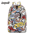 Fashion Canvas Graffiti Cartoon Backpack Printing Women Student Travel Leisure Laptop School Bags Pack Large Capacity Mochila