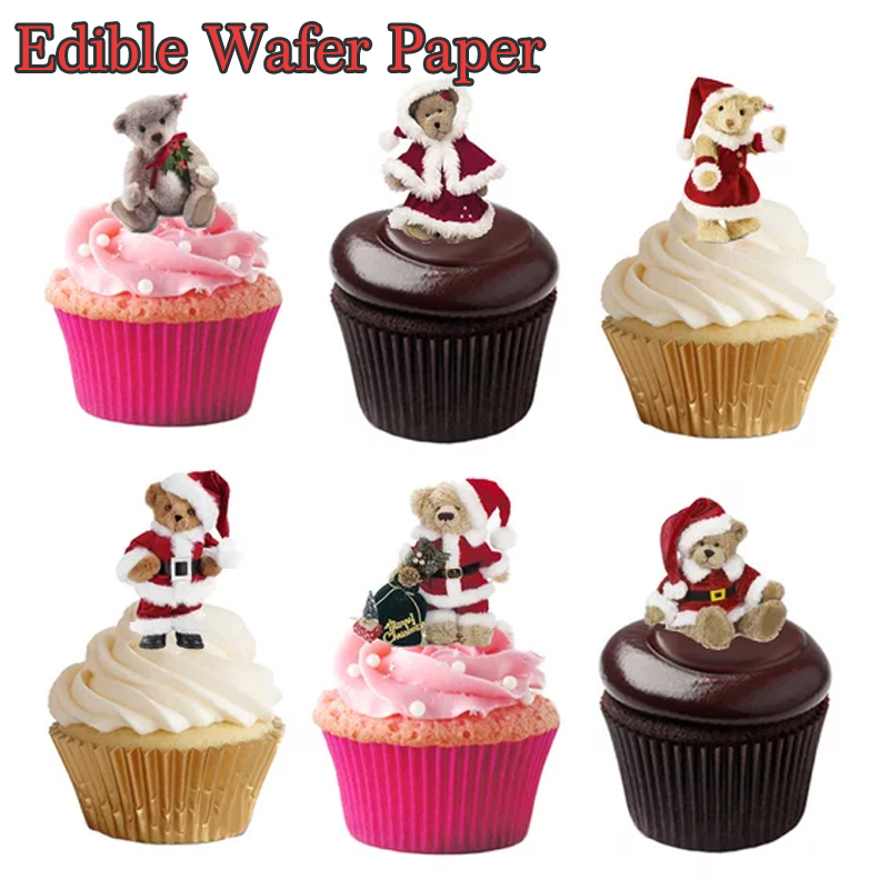 200pcs Christmas Bear Image Edible Pre Cut Wafer Cupcake ...
