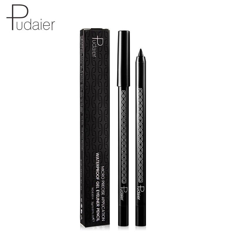 Brand Pudaier cool black eyeliner gel pencil long lasting waterproof wooden handle eyeliner kajal pen in Eye Shadow Liner Combination from Beauty Health