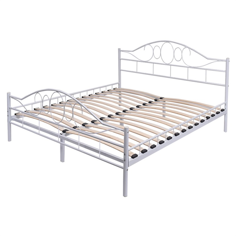 White Steel Bed Frame With Wood Slats And Arched Headboard  Living Room Footboard White Queen Size Bed Frame Bed HW52202