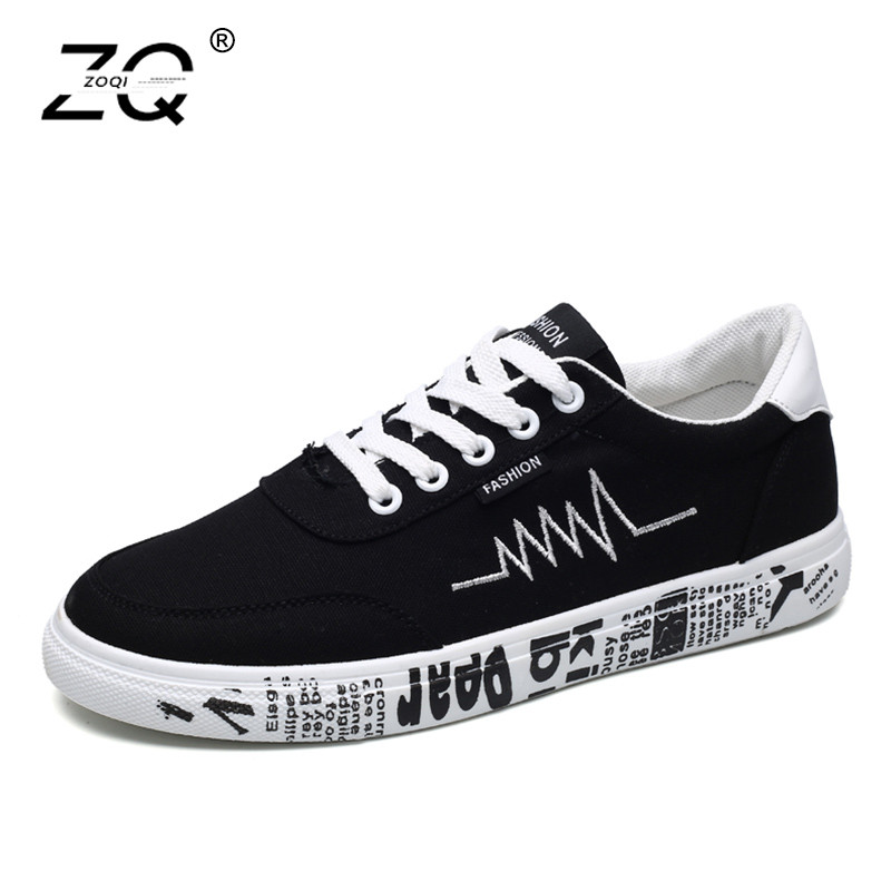 ZOQI New Arrival Spring Summer Comfortable Casual Shoes Mens Canvas Shoes For Men Lace-Up Brand Fashion Flat Loafers Shoes brand new spring casual boys canvas low top shoes slip on mens lightweight canvas shoes for young men fashion flat shoes ac 07