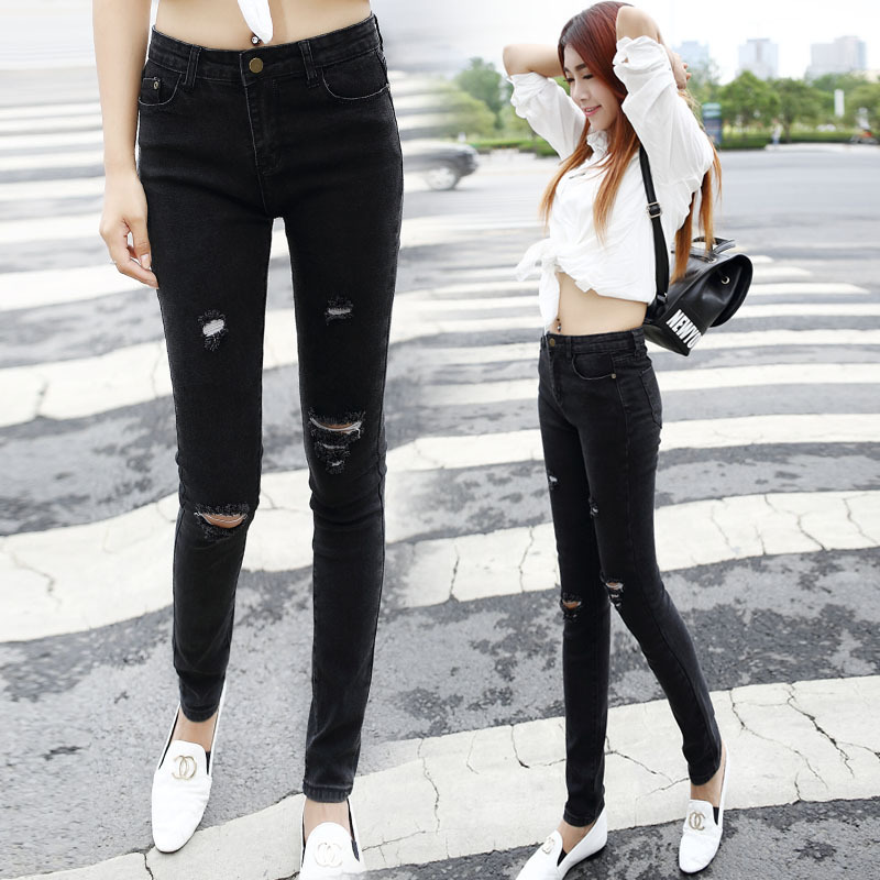 Cowboy Girl] Black tight jeans female trousers hole slim trousers ...