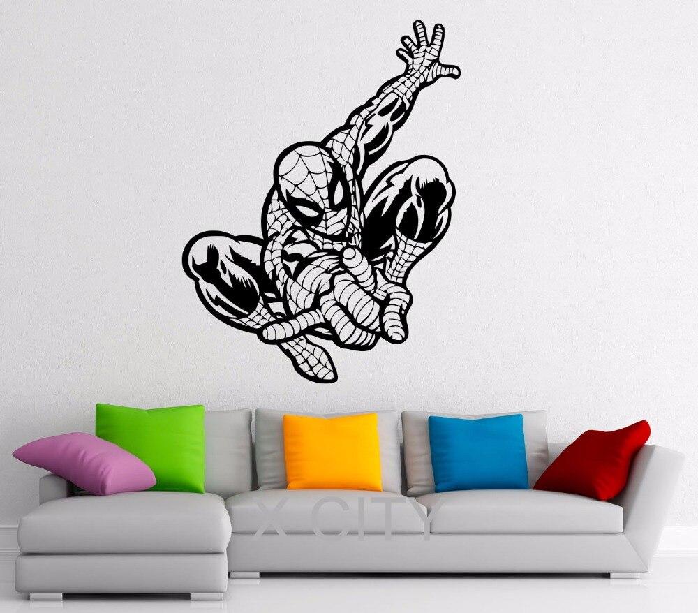 <font><b>Spiderman</b></font> Decal Vinyl <font><b>Stickers</b></font> Comics Superhero Interior Home Nursery Kids Room <font><b>Design</b></font> <font><b>Wall</b></font> Art Murals Bedroom Decor