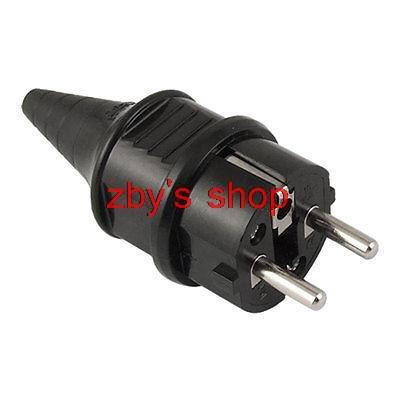 EU Plug AC 250V 16A European German Rewirable Power Cord Connector Black german to eu plug adapter black 250v