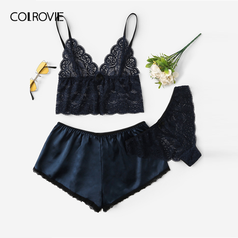 COLROVIE Navy Floral Lace Cami Tops And Panties And Satin Shorts Women 2019 Lingerie Set 3pack Lounge Sleepwear Sexy Nightgown